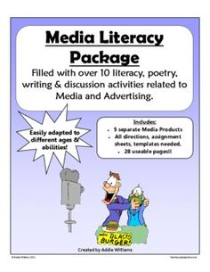One of my BEST SELLERS! Over 10 media literacy activities - poetry, writing, discussion topics and more! My students have always enjoyed working o. Media Literacy, Literacy Activities, Social Media Survey, Media Studies, Media Unit, Teaching Technology, Advertising, Ads, English