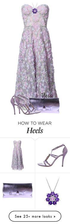 """~  Lavender Heels  ~"" by pretty-fashion-designs on Polyvore featuring Notte by Marchesa, La Fille Des Fleurs, Stuart Weitzman and Laura Ashley"