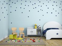 Stars: Blue or Gold vinyl stars, wall decor, 5 year vinyl.     These stars are perfect for the nursery, children's room, class room, daycare wall decor, or play room. I cut these on 5 year vinyl, in both Blue and Gold---HOWEVER, I also do custom work so if you're looking for a different color of size just send me a message.     These, easy to apply vinyl stars come in packs of:     30 pack  60 pack  90 pack  180 pack     You can also choose between:  2x2 inch stars  3x3 inch stars    (If you…