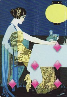 Art Deco Playing Card, Six of Diamonds by Coles Phillips Art Deco Illustration, Illustrations, Easy Art For Kids, Kindergarten Art Projects, Recycled Art Projects, Alien Concept Art, Vintage Playing Cards, Art Deco Furniture, Art Deco Era
