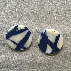 Abstract Art Inspired Clay Earrings in Indigo by cbrdesign on Etsy