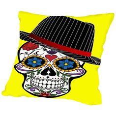 Americanflat Hipster Horror Skull Halloween Throw Pillow