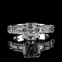 Antique 18K White Gold Finish Asscher Cut & Baguette Engagement Ring by JewelryHub on Opensky