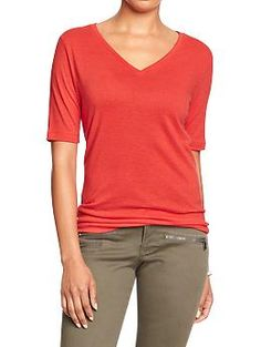 Womens Linen-Blend V-Neck Tees in all colors except Bright pink and Bright teal (M or L)