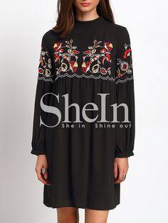 Vestido manga larga bordado -negro-Spanish SheIn(Sheinside)