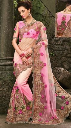 Imposing Pink Net Party Wear Embroidered Saree With Floral Rose Work EK3510B31 Marvellous pink net floral saree which is beautifully made with stone, floral patch and zarkan work. This attire comes with matching blouse piece.The blouse of this saree can be stitched in the maximum bust size of 42 inches