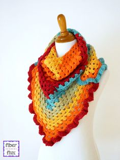 Happy Go Lucky Shawlette By Fiber Flux/Jennifer Dickerson - Free Crochet Pattern - (ravelry)