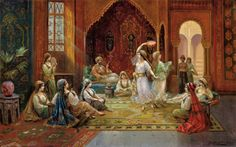 Harem interior with dancing women. Stephan Sedlacek (1868-1936) Oil on canvas. Sedlacek was a history and genre painter, depicting aristocratic people in courtly environments as well as oriental scenes. As in this work, Sedlacek painted rich and detailed interiors. Note how his light source illuminates only the dancers. www.sothebys.com