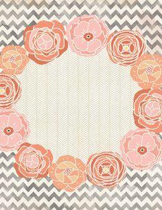 Lovely floral chevron design to print and customize; menu, invitation, wall art, monogram etc!