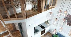 Arhitectul rus, Ilya Derkach a realizat această propunere de amenajare a unei garsoniere foarte mici, însă cu un tavan foarte înalt... Design Interior, Loft, Bed, Furniture, Home Decor, Decoration Home, Stream Bed, Room Decor, Lofts