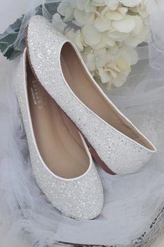 WHITE Rock Glitter Slip on Flats - Women wedding flats, bridesmaids shoes, white bridal shoes – Kailee P. Inc.