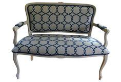 Blue & White Settee w/ Pillows