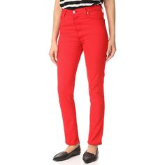 RE/DONE High Rise Red Jeans ($238) ❤ liked on Polyvore featuring jeans, button fly jeans, high waisted denim skinny jeans, high waisted button fly jeans, denim skinny jeans and high-waisted jeans