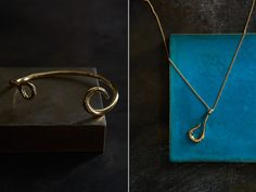 Giles & Brother - Look Book, featuring the Medium Hook Necklace and the Hook Cuff.