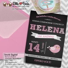 $35.00 Convite Festa Passarinho Chalkboard para imprimir