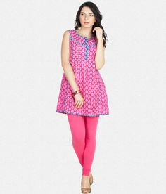 Buy Women Pink Sleeveless Printed Kurti With Leggings For Diwali At Rs 849 Lowest  Online Price 22522e599