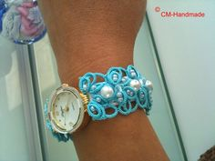 Relojes de muñeca - Reloj con encaje de frivolité - hecho a mano por CorinaMeyfeldt