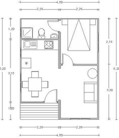Small Space Design, Small House Design, Small House Plans, House Floor Plans, Studio Apartment Floor Plans, Cute Small Houses, Architectural Floor Plans, Plan Design, Architect Design