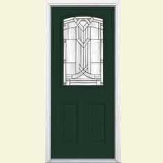 Masonite Chatham Camber Top Half Lite Painted Smooth Fiberglass Prehung Front Door with Brickmold-30711 - The Home Depot