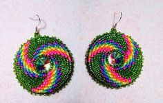 Round Native Beaded Earrings Native american beaded earring