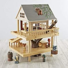 We've scaled down the classic treehouse from Camp Wandawega to fit into your kid's playroom. Our Treehouse Play Set and is made from wood, it's handpainted, and it comes with a set of our Camping Buddies Wooden Dolls. Part of our exclusive Camp Wandawega Woodworking For Kids, Woodworking Plans, Woodworking Projects, Woodworking Shop, Youtube Woodworking, Woodworking Equipment, Woodworking Patterns, Woodworking Machinery, Woodworking Supplies