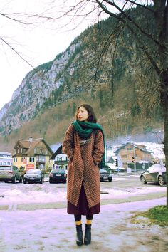 Street Style   Textured Coat. Emerald Scarf. Yellow Socks!   From: Yes, Asian Street: Photo     { Couture /// Runway Every Day