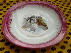 Vintage Horse Dish. French Company Ad Porcelain. White #dish with hot pink edge . Square Size  : 5.6 x 5.6 in.  =  14.4 x 14.4 cm …
