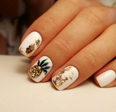 most beautiful short nails designs for 2019 56 Get Nails, Fancy Nails, Love Nails, Pretty Nails, Summer Acrylic Nails, Best Acrylic Nails, White Summer Nails, Hawaii Nails, Pineapple Nails