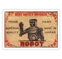 Vintage Robot Match Box by David Naughton-Shires   I want a welcome mat like this.