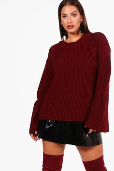 Plus Olivia Flared Sleeve Knitted Jumper Bell Sleeves, Bell Sleeve Top, Red Sweaters, Zara, Jumper, Model, Winter 2017, Boohoo, Tops