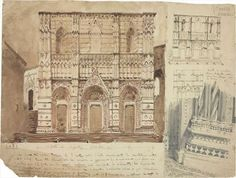 Le Corbusier, study of the façade and architectural details of the Baptistery of San Giovanni in Siena, 1907. Courtesy Fondation Le Corbusier, Paris