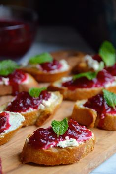 Cranberry Sauce Crostini with Garlic & Herbed Goat Cheese from @alejandraramos