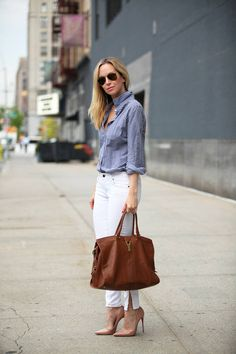 #JCrew Navy and White Gingham  Button-Up Shirt Paired with White Jeans // Lolobu - A Casual Work or Weekend Look! #Gingham