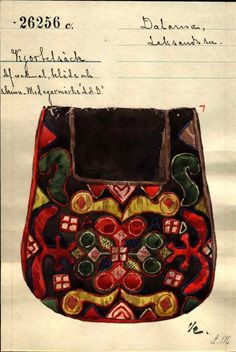 FolkCostume&Embroidery: Kjolsäcken, Loose Pockets of Leksand, Dalarna, Sweden Wool Embroidery, Embroidery Stitches, Scandinavian Embroidery, Sewing Pockets, Folk Clothing, Textiles, Folk Costume, Halloween Costumes, Hip Bag