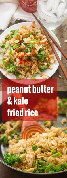 Tender kale leaves are tossed with crispy fried rice that's been drenched in peanut sauce to make this flavor-packed peanut butter fried rice!