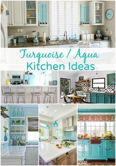 Turquoise and Aqua Kitchen Ideas. Step out of the box and go with a bold color when it comes to the kitchen. These Turquoise and Aqua Kitchen Ideas are stunning! Cocina Shabby Chic, Shabby Chic Kitchen, Shabby Chic Decor, Turquoise Kitchen Decor, Nautical Kitchen, Aqua Decor, Turquoise Kitchen Cabinets, Kitchen Decor Themes, Kitchen Colors