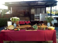 The Smoke Monster Trailer and table set up #catering #party #BBQ