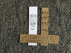"""You Are the Salt of the Earth"" ""Love is Patient and Kind"" and ""Fearfully and Wonderfully Made"" Custom Laminated Bookmarks. Available for $1 each at www.etsy.com/shop/MarkHisWord"