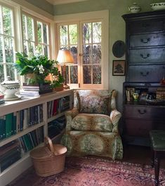 """magicalhomestead:  """"Cozy corner. I bet there's yarn or some kind of needlework in that basket.  instagram  """""""