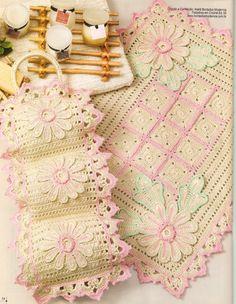 Crochê da Reh: Jogo de Banheiro Flores Rosa