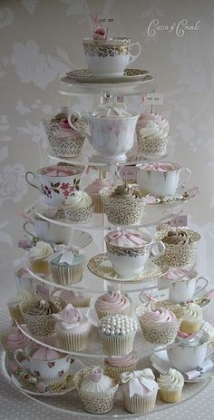 Cute cupcake set-up for weddings/parties. Use vintage tea-cups mixed in with the cupcakes. Cotton And Crumbs, Tea Party Bridal Shower, Tea Party Wedding, Cupcakes For Bridal Shower, Bridal Showers, Wedding Gifts, My Tea, Cupcake Cakes, Teacup Cupcakes