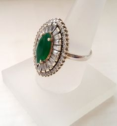 Sterling Silver Ring, Silver Ring, Rose silver Ring, Emerald Ring, Zircon Ring, Diamond Cutting by Rosestyle on Etsy
