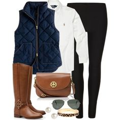 Riding boots, navy quilted vest, white blouse, black jegging, brown pursette