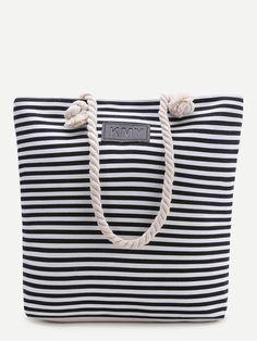 Shop Black Striped Print Tote Bag online. SheIn offers Black Striped Print Tote Bag & more to fit your fashionable needs.