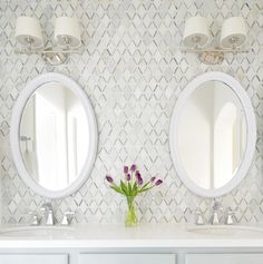 diamond pattern Audrey bathroom backsplash (antique gold mirror and light over mirror - see alternate pins), floating shelves over toilet painted dark color of ceiling if tile wall extends behind toilet