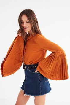 Jovonna London Tosca Pleated Bell-Sleeve Top | Urban Outfitters