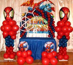spiderman balloon design Spider Man Party, Fête Spider Man, Spiderman Theme, Birthday Decorations At Home, Balloon Decorations, Avengers Birthday, Boy Birthday, Ballon Arrangement, Avenger Party