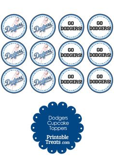 Los Angeles Dodgers Cupcake Toppers from PrintableTreats.com