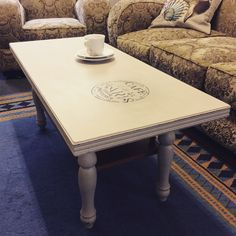 Timber coffee table in Botanics chalk paint 'French beige' with black stencil Chalk Paint, Stencil, I Shop, Kitten, Dining Table, Beige, French, Coffee, Furniture