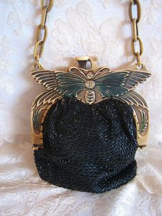 Art Deco 1920s Celluloid Frame Purse Large Butterfly Cream & Green